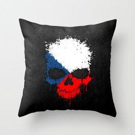 Flag of Czech Republic on a Chaotic Splatter Skull Throw Pillow