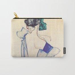 "Egon Schiele ""Rückenansicht eines Mädchens im blauen Rock (Back view of  a girl in a blue dress)"" Carry-All Pouch"