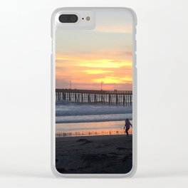 Cayucos Pier Sunset Clear iPhone Case