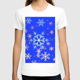 DECORATIVE BLUE  & WHITE SNOWFLAKES PATTERNED ART T-shirt