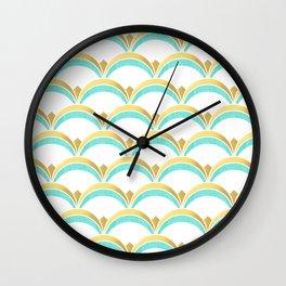 Mint and Gold Gatsby Twenties Deco Fan Pattern Wall Clock