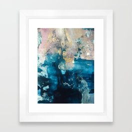 Timeless: A gorgeous, abstract mixed media piece in blue, pink, and gold by Alyssa Hamilton Art Framed Art Print
