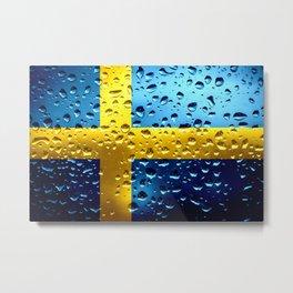 Flag of Sweden - Raindrops Metal Print