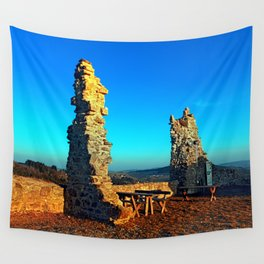 Taking a rest at the ruin | architecture photography Wall Tapestry