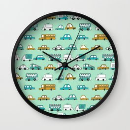 Cars trucks buses city highway transportation illustration cute kids room gifts Wall Clock