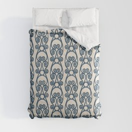 Modern Farmhouse Scroll Ikat Pattern - Cream Navy Comforters