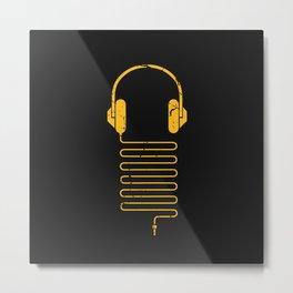 Gold Headphones Metal Print