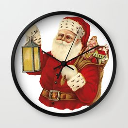 Vintage Santa Christmas Illustration Wall Clock