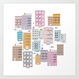 New York Brownstone Architecture - Pastel homes Art Print