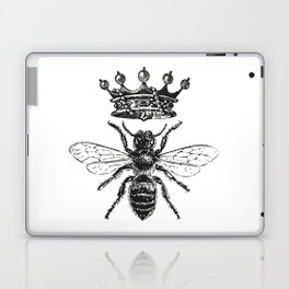 Queen Bee   Vintage Bee with Crown   Black and White   Laptop & iPad Skin