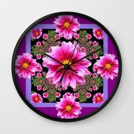 Pink Dahlia Flowers on Black-green Geometric Wall Clock