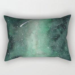Green galaxy Watercolor Background Rectangular Pillow