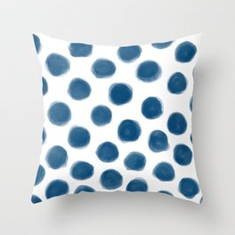 blue polka dots Throw Pillow