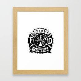 Fire Fighter Badge Framed Art Print