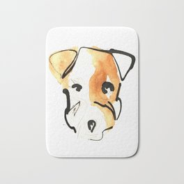 Black Ink and Watercolor Jack Russell Terrier Dog Bath Mat
