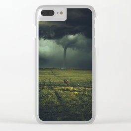 Tornado Coming (Color) Clear iPhone Case
