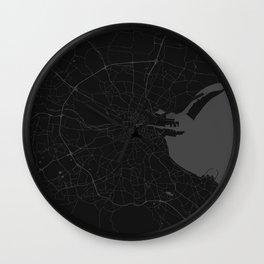 Black on Grey Dublin Street Map Wall Clock