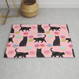 Black cat donuts cat breeds cat lover pattern art print cat lady must have Rug