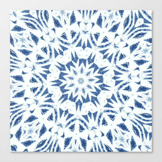 Snowflake Denim & White Canvas Print