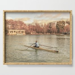 Woman Rowing at Del Retiro Park, Madrid, Spain Serving Tray
