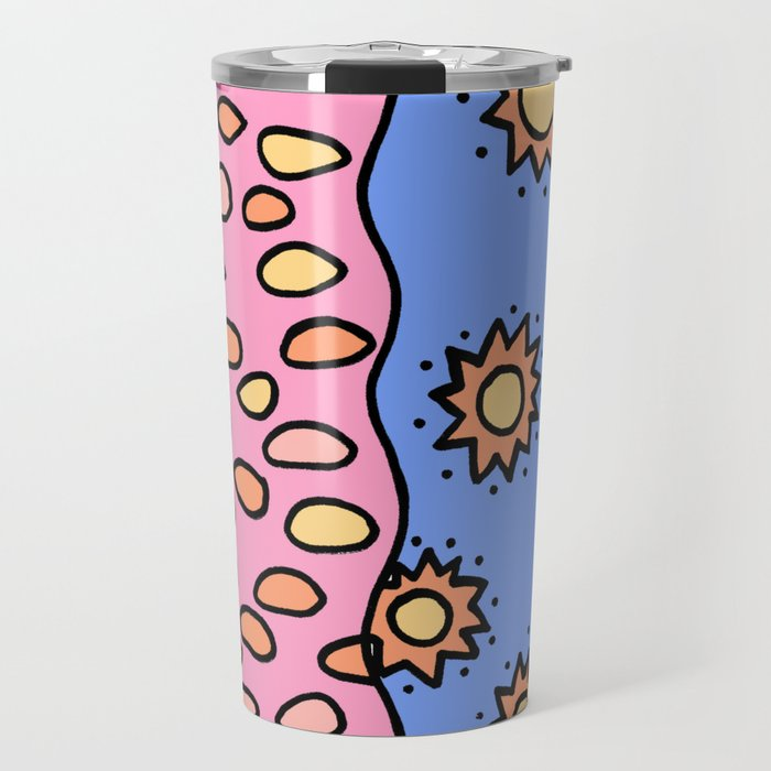 Doodle Art Drawing - Seagulls Rocks and Waves - Coral Blue Pink 2 Travel Mug