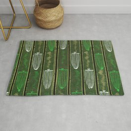 Green And White Baskets Stripes Japanese Shima-Shima Pattern Rug