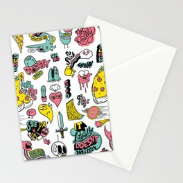Weirdo Pizza Donut Sword Skull Pattern Stationery Cards