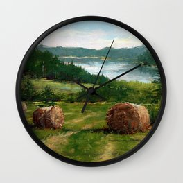 Hay Bale View of Shelburne Pond Wall Clock