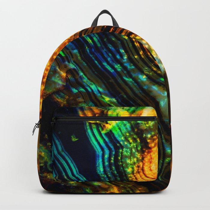 blue orange crystal Backpack