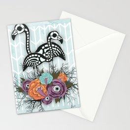 Flamingo Skeleton Halloween Composition Stationery Cards