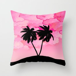 Palm Tree Silhouette Against Dawn Pink with Clouds Throw Pillow