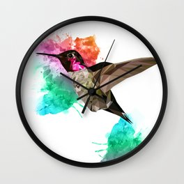 Humming bird Poly + painsplash Wall Clock