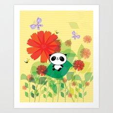 panda and flowers Art Print
