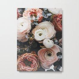 Eucaliptus Peach Floral Metal Print