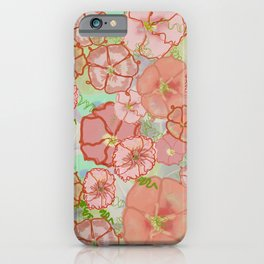 Fanciful Coral & Soft Peach Morning Glories iPhone Case