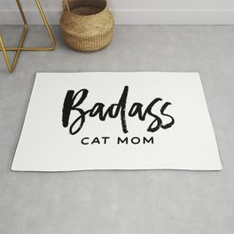 Badass cat mom Rug