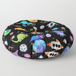 Dinosaur Astronauts In Outer Space Floor Pillow