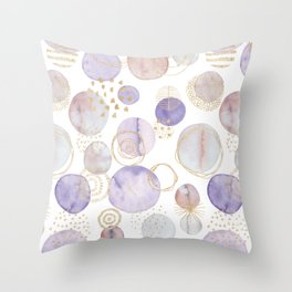 Watercolour Circles | Lavender, Gold & Lilac Palette Throw Pillow