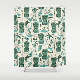 Tropical Tiki - Cream & Aqua Shower Curtain