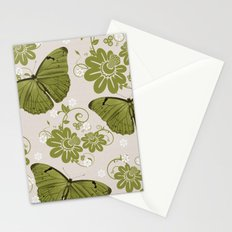 Green Butterflies & Flowers Stationery Cards