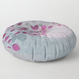 Pink Moon and leaf illustration Floor Pillow
