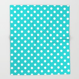 Small Polka Dots - White on Cyan Throw Blanket