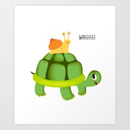 Cute Snail Riding Turtle Adorable Animal Art Print