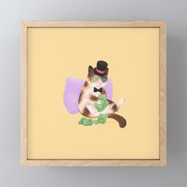 Cash Cat Framed Mini Art Print
