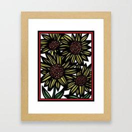 Blellum Flowers Yellow Red Black Framed Art Print