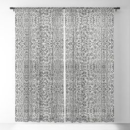 Black and White Trippy Pattern Sheer Curtain