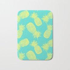 Pineapple Pattern - Turquoise & Lemon Bath Mat