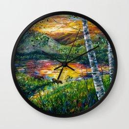 Sleeping Meadow  - Colorado Moose Crossing  Wall Clock