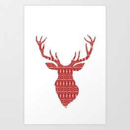 Christmas Jumper Red and White Pattern Art Print