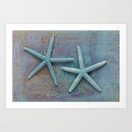 Turquoise Starfish on textured Background Art Print